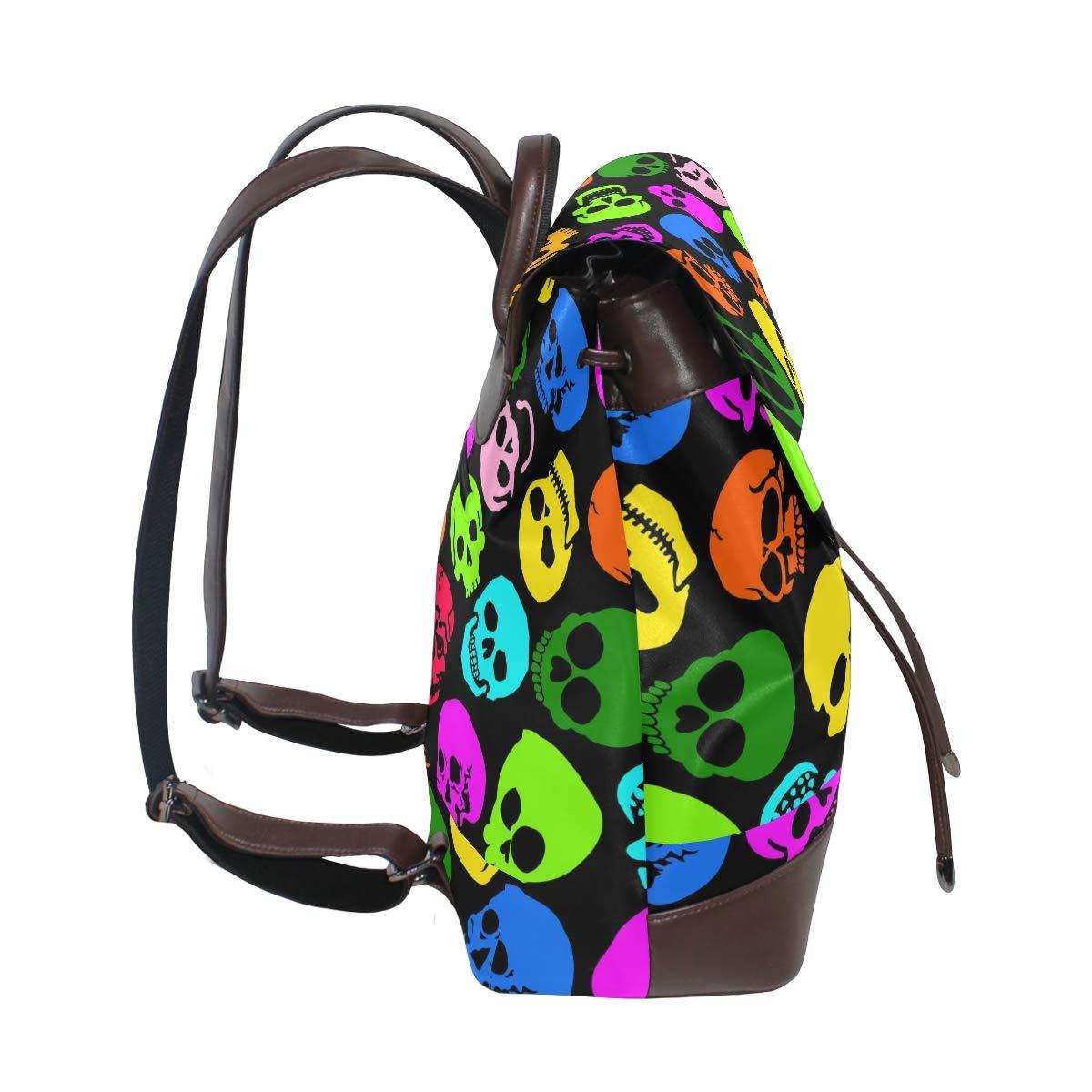 PU Leather Shoulder Bag,Colorful Skull Backpack,Portable Travel School Rucksack,Satchel with Top Handle