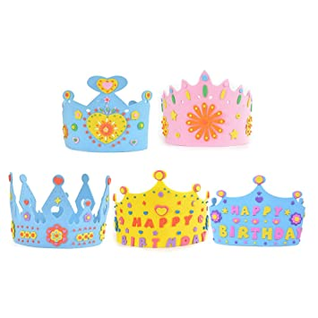 NUOLUX 5pcs Kids Birthday Crown Cake Party Hats DIY Hat Craft Toy For Boys Girls