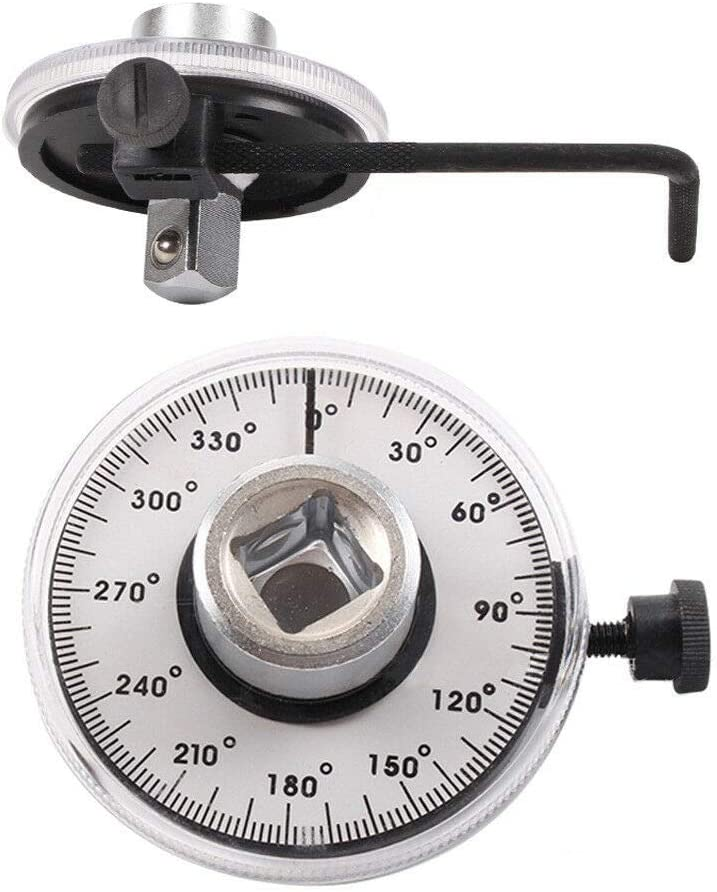 BE-TOOL Angle Gauge 12.5mm 1//2 Torque Angular Gauge with Wrench Male and Female Square Drive Measurer Car Garage Tool