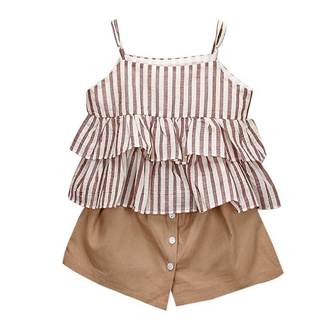 e657f08dc Ropa Bebé Niñas 2PC Raya Volantes Chaleco Camiseta+Pantalones Cortos Trajes  Conjunto de Ropa para Bebés Niños 2-7 años Holatee