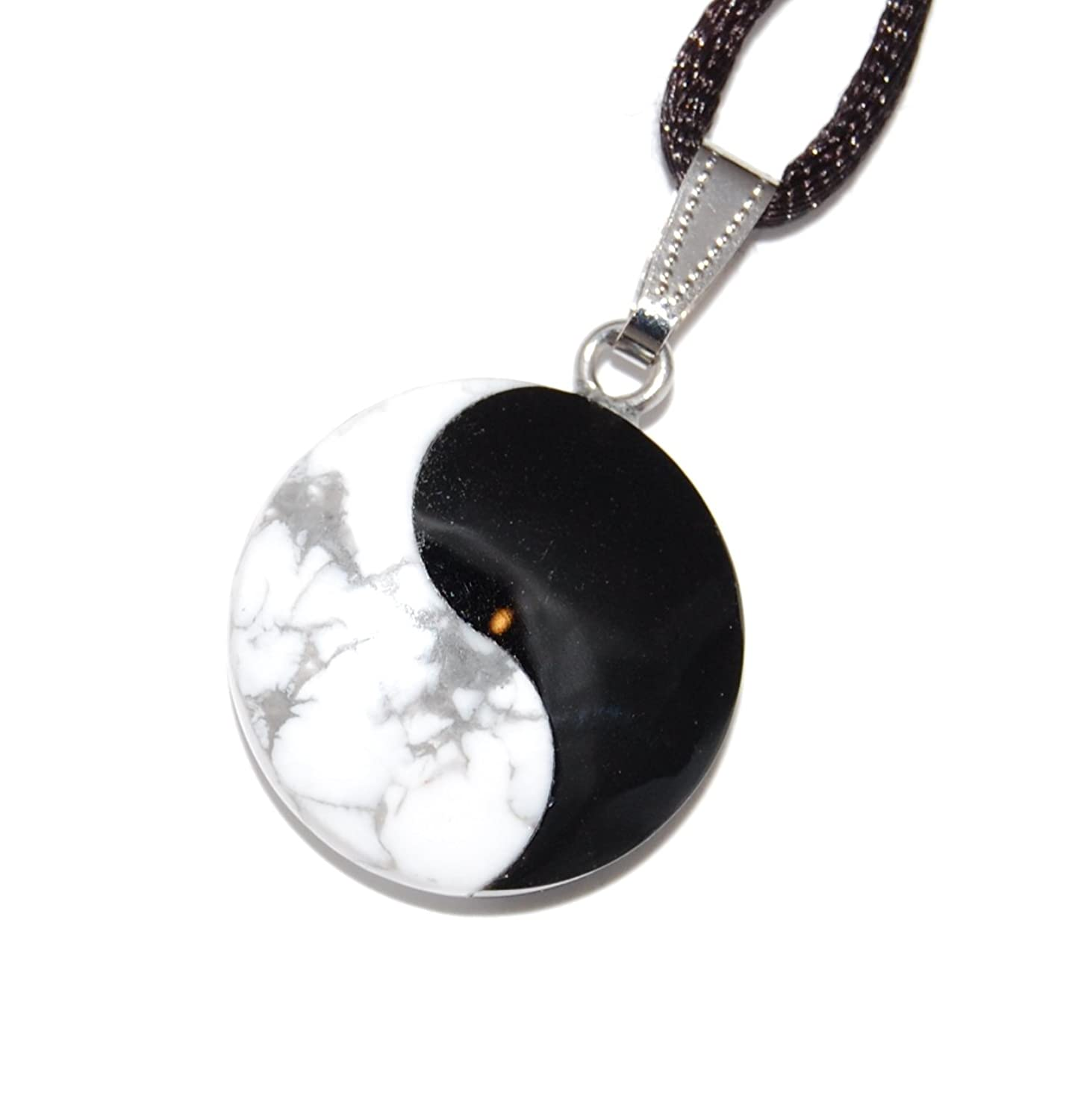 """Power Pack Series - Yin Yang Martial Arts Round Pendant Howlite & Onyx 25mm Black White Gray - 20"""" to 24"""" Adjustable Black Poly Woven Washable Cord - Crystal Gemstone Carved Necklace"""