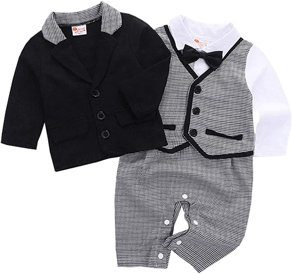 Black YANN Baby Boy Gentleman Suit Newborn Toddler Long Sleeves Rompers Jumpsuit Infant Outfit Set with Bow tie