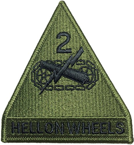 2nd Armored Division Hell on Wheels US Army Green Military Armed Forces DIY Applique Embroidered Sew Iron on Emblem Badge Costume Patch
