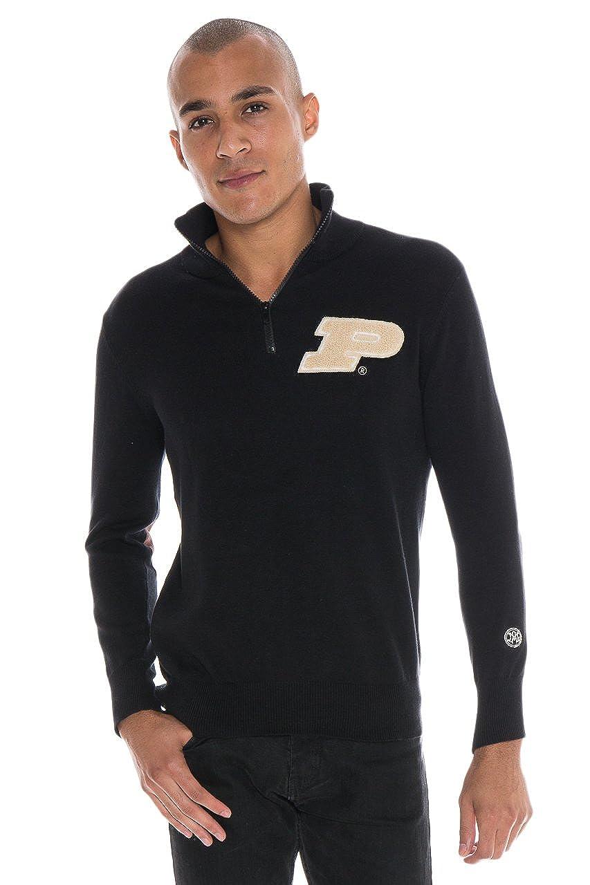 Black Small Alma Mater NCAA Purdue Boilermakers Mens Quarter Zip Sweater