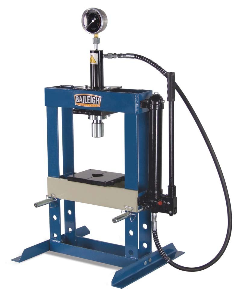 "Baileigh HSP-10H Hydraulic Shop Press, 10 Ton Capacity, 13-1/2"" Working Width"