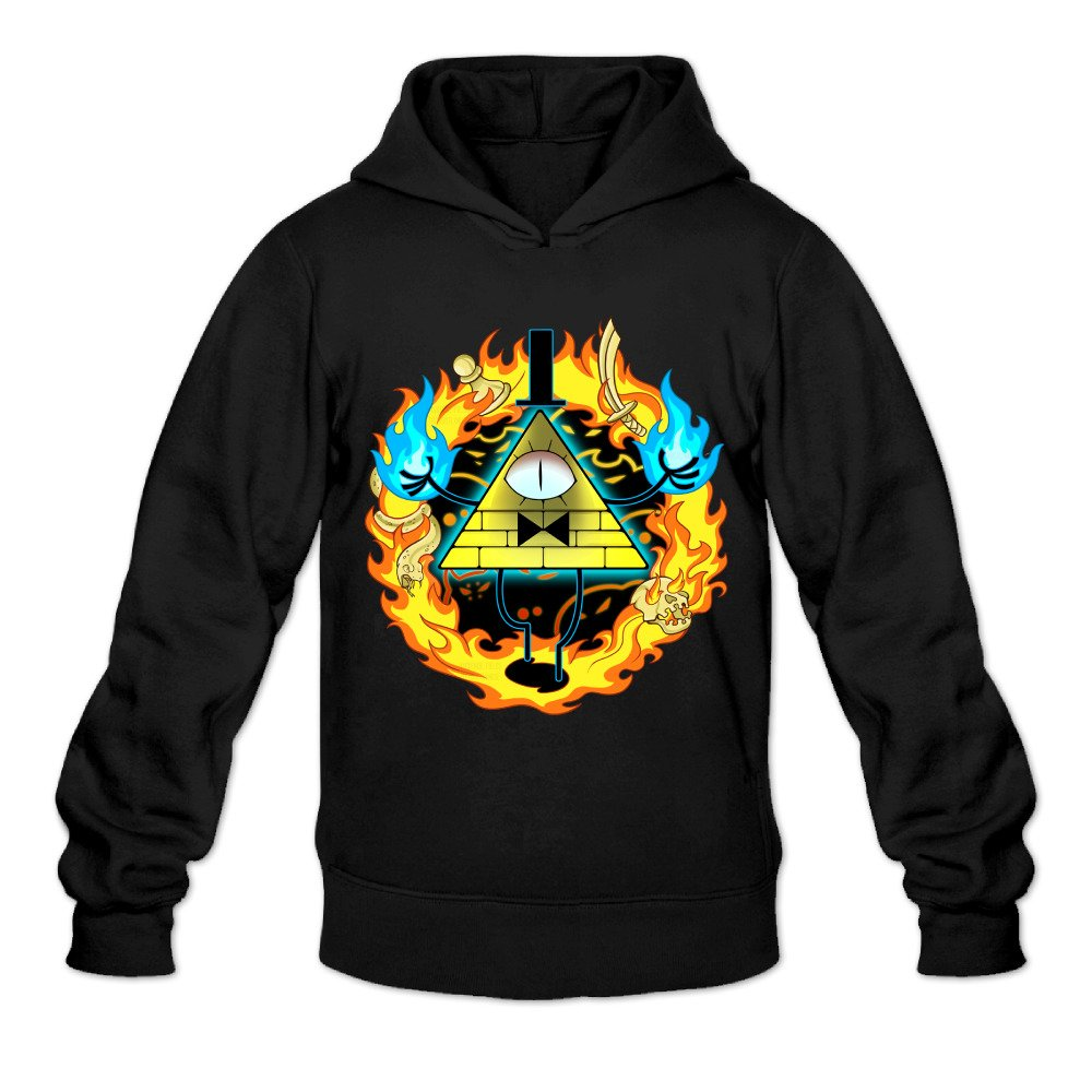 DVPHQ Mens Design Gravity Animated Film Falls Hooded Sweatshirt Black