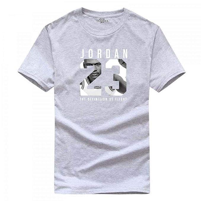 527ffe096e Jordan 23 Print Men Swag T-Shirt Cotton Hip Hop Short Sleeve Light Grey