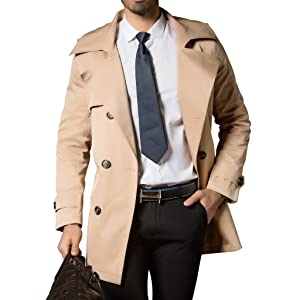Khaki Mens Trench Coat Belt Spring Thin Double Breasted Jacket Overcoat Outwear
