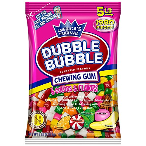 Dubble Bubble Assorted 6 Flavor 5lb Bulk Tab Chewing Gum (2.26kg) 1980pc Assortment chicle ford chiclet