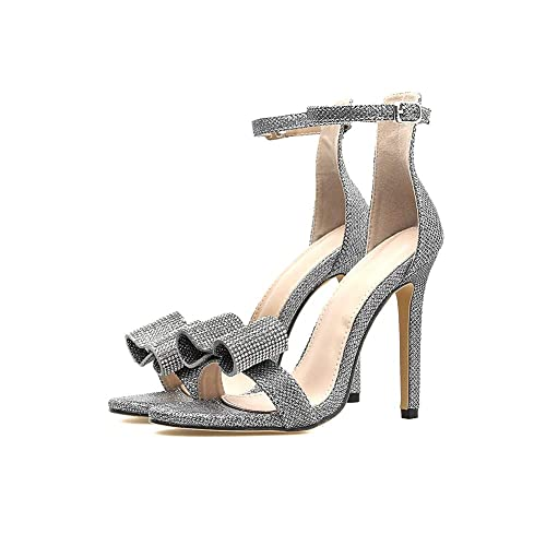 Ladies Silver Party Sparkly Evening Wedding Ankle Strap
