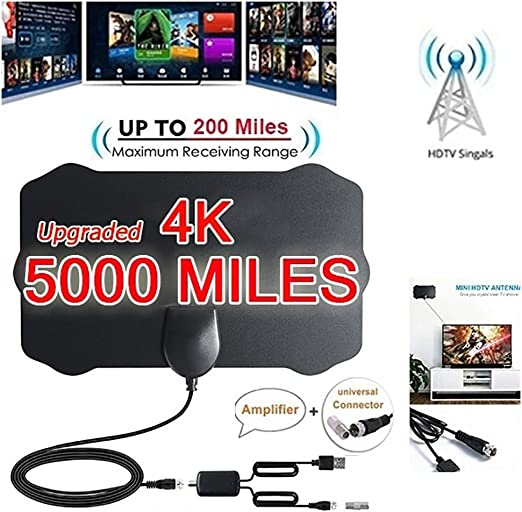 50//960Mile HDTV Antenna 1080P HD Amplified FM VHF UHF Digital TV Cables