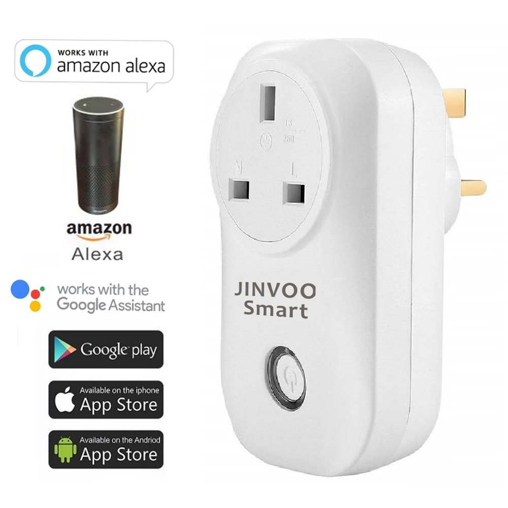 JinvooSmart Wireless Wi-Fi Smart Socket Switch Adaptation to Alexa Echo and Works with Google Assistant Remote Control Smart Home Automation UK Plug Jinvoo smart
