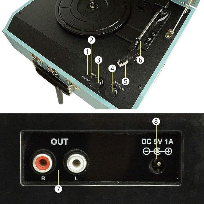 RMXMY Retro portátil Disco de Vinilo Jugador de época Moderna ...