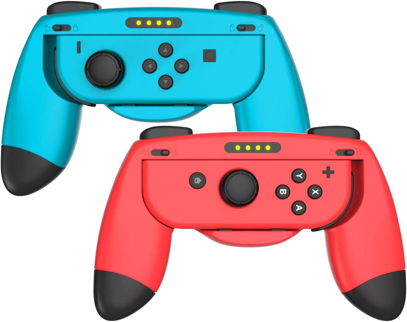 Switch Grip Kit JoyCon Hand Grips Controllers for JoyCon Wear-Resistant Handle Kit Compatible with JoyCon Controllers Comfort Handle for Kids Family Fun Special for Mario Kart 8 Deluxe(Red & Bule)