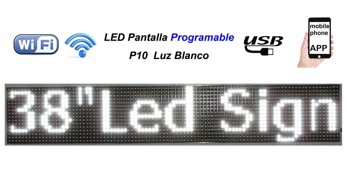 LEDUNI Letrero LED P10 Programable Pantalla Panel Banderola Rótulo Electrónico Cartel Pantalla Anuncio Negocio Luz Blanca Fría 96X16X5CM Control por ...