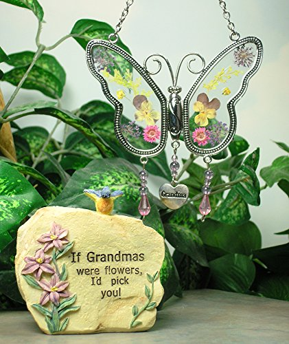Grandma Gifts - Grandma Message Rock and Butterfly Suncatcher Set - Butterfly Has Hanging Charm with Grandma Engraved on It - Grandma Gift - Grandma to Be - Mother-in-law by Banberry Designs