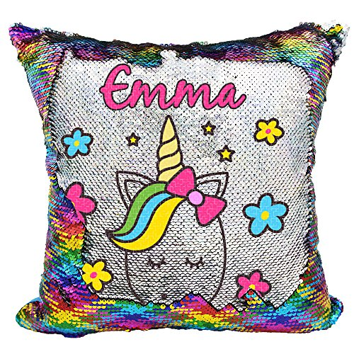 Unicorn Throw Pillow for Girls Personalized Reversible Sequin Pillow Rainbow Silver