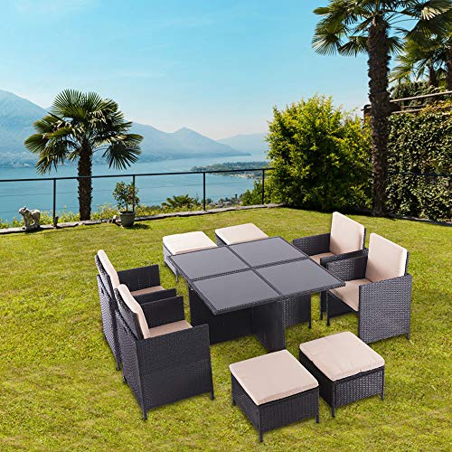 UFI 9 Pieces Patio Dining Sets Outdoor Space Saving for sale  Delivered anywhere in USA