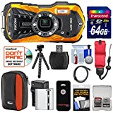 Ricoh WG-50 Waterproof / Shockproof Digital Camera (Orange) with 64GB Card + Battery & Charger + Case + Tripod + Floating Strap + Kit