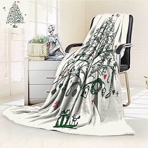 YOYI-HOME Weave Pattern Extra Long Duplex Printed Blanket with Wands and Chirstmas Tree Hand Drawn Style with Wreath and Stockings Red Green Custom Design Cozy Flannel Blanket /W59 x H47 (Red Boston Wreath Sox)