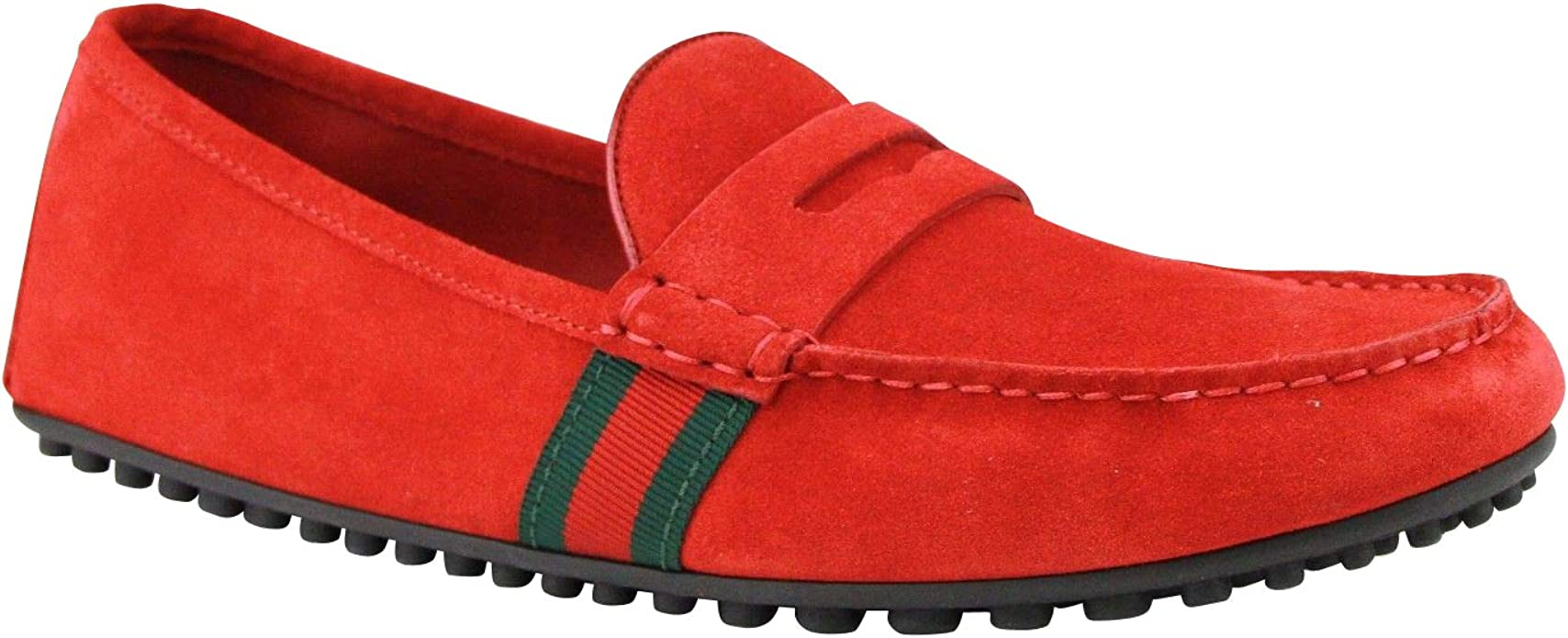 Gucci Men's Driver Loafer Red Suede