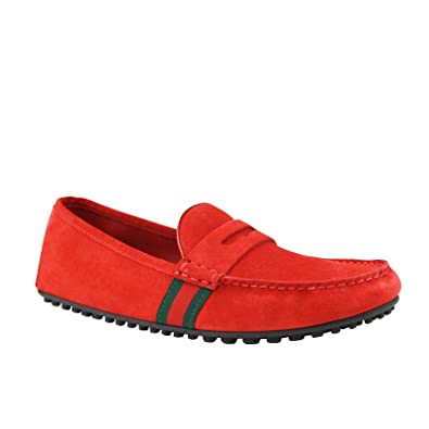 7477b1b1c02 Gucci Driver Loafer Red Suede Shoes GRG Web Detail 407411 6460 (9 G   10