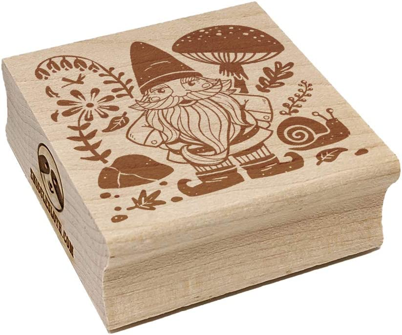 Garden Gnome with Background Square Rubber Stamp for Stamping Crafting - 1.25in Small