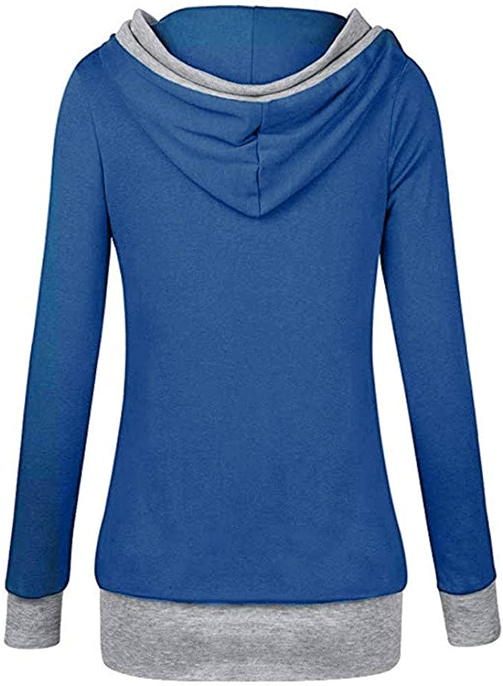 KaloryWee Winter Outerwear Sale 2018 Women Long Sleeve Hooded with Button Sweatshirt Casual Tops Shirt Blue