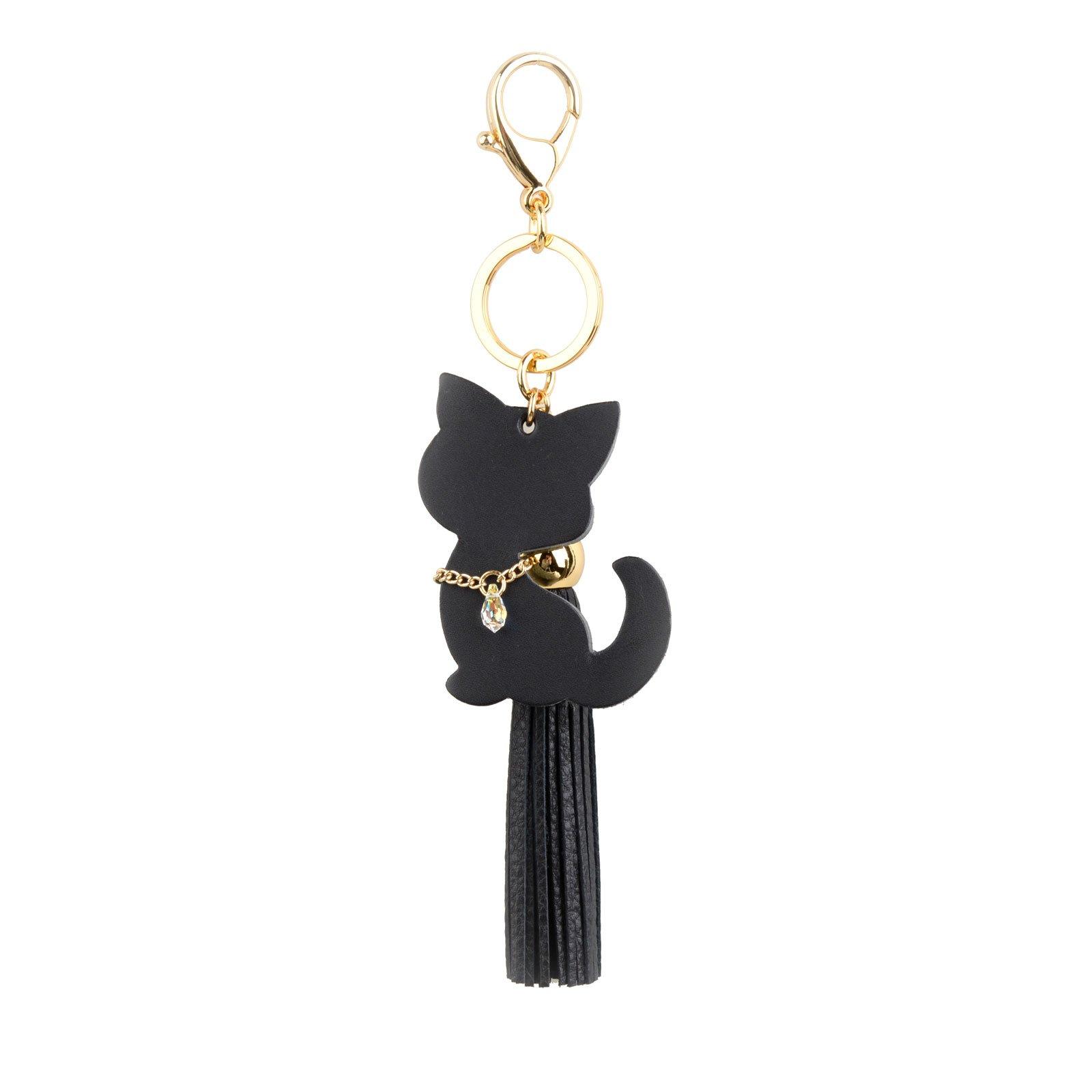 Richbud Cute Black Cat Leather Tassel Keychain Handbag Purse Charm Key Ring (Cat-Crystal-Tassel)