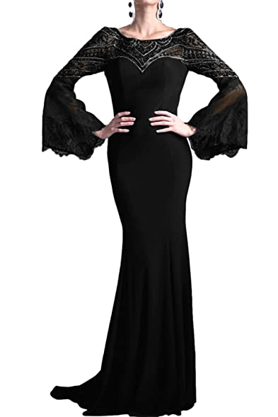 Gorgeous Bridal Vogue Evening Prom Dress for Women Long Sleeves Mermaid Beads- US Size 2