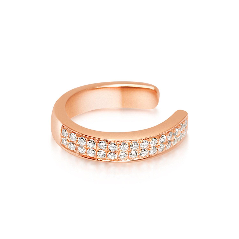 14K Womens' Rose Gold .0.082ctw Diamond Ear Cuff Earrings