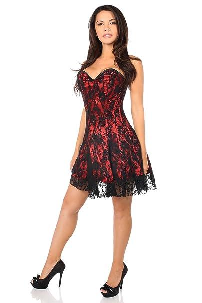 Daisy corsets Plus Size Lavish Red Lace Corset Dress