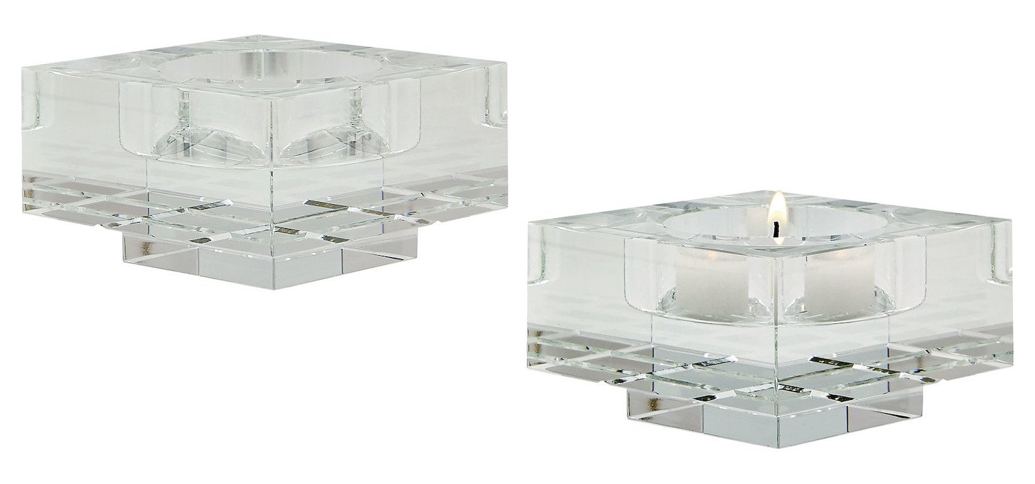 Clear Square Windowpane Small Crystal Candleholders - Set of 2