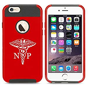 Apple iPhone 5 5s Shockproof Impact Hard Case Cover NP Nurse Practitioner Caduceus (Red)
