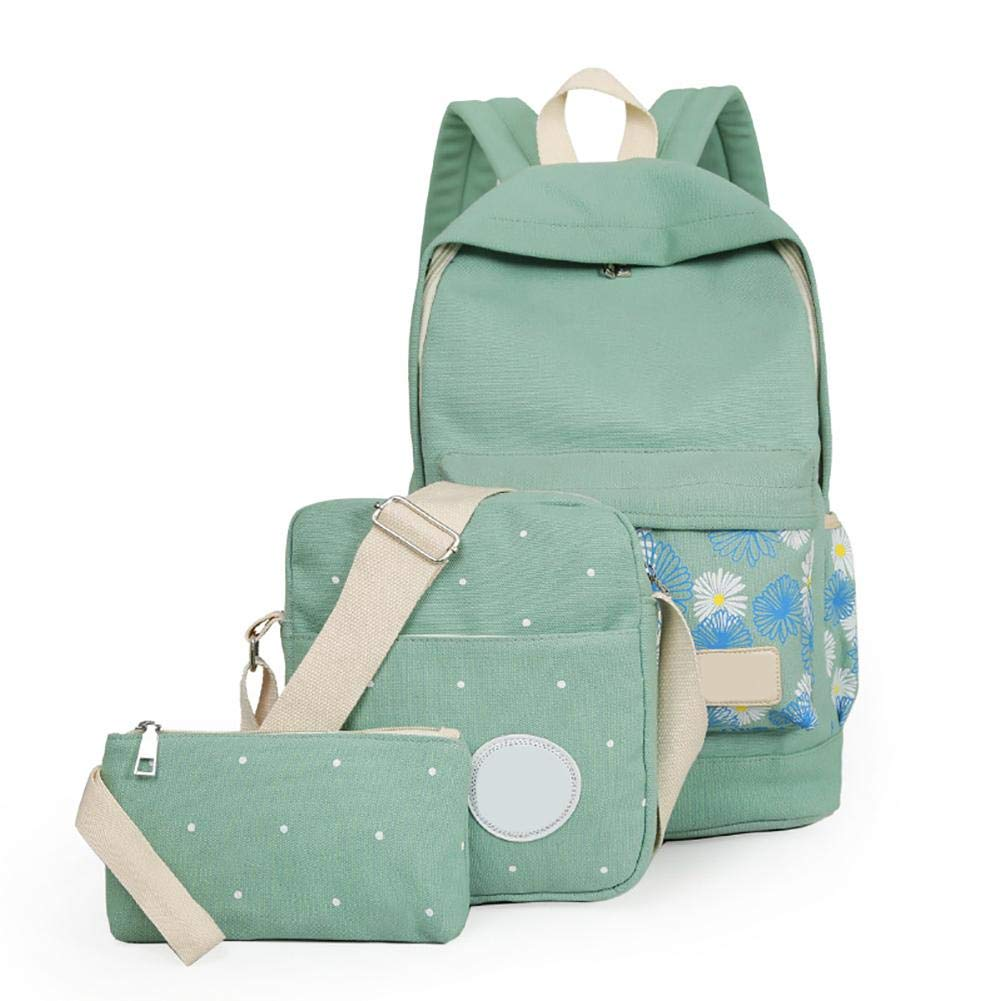 iShine 3PCS Set Women Backpack Korean Style Fasionable Travel Print Preppy  Large Anti-Theft Rucksack Lightweight School Students College Bookbag  Shoulder ... 6586a3986f93d