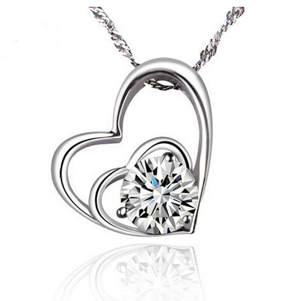 Exteren Double Heart Shaped Pendant Plated Wire Wrap Crystal Alloy Necklace Jewelry for Women Men (A)