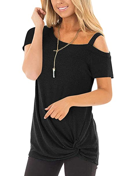 f66b73a93a3 Glomeen Women's Cold Shoulder T Shirts Twist Knot Solid Casual Short Sleeve  Blouse Tops Black