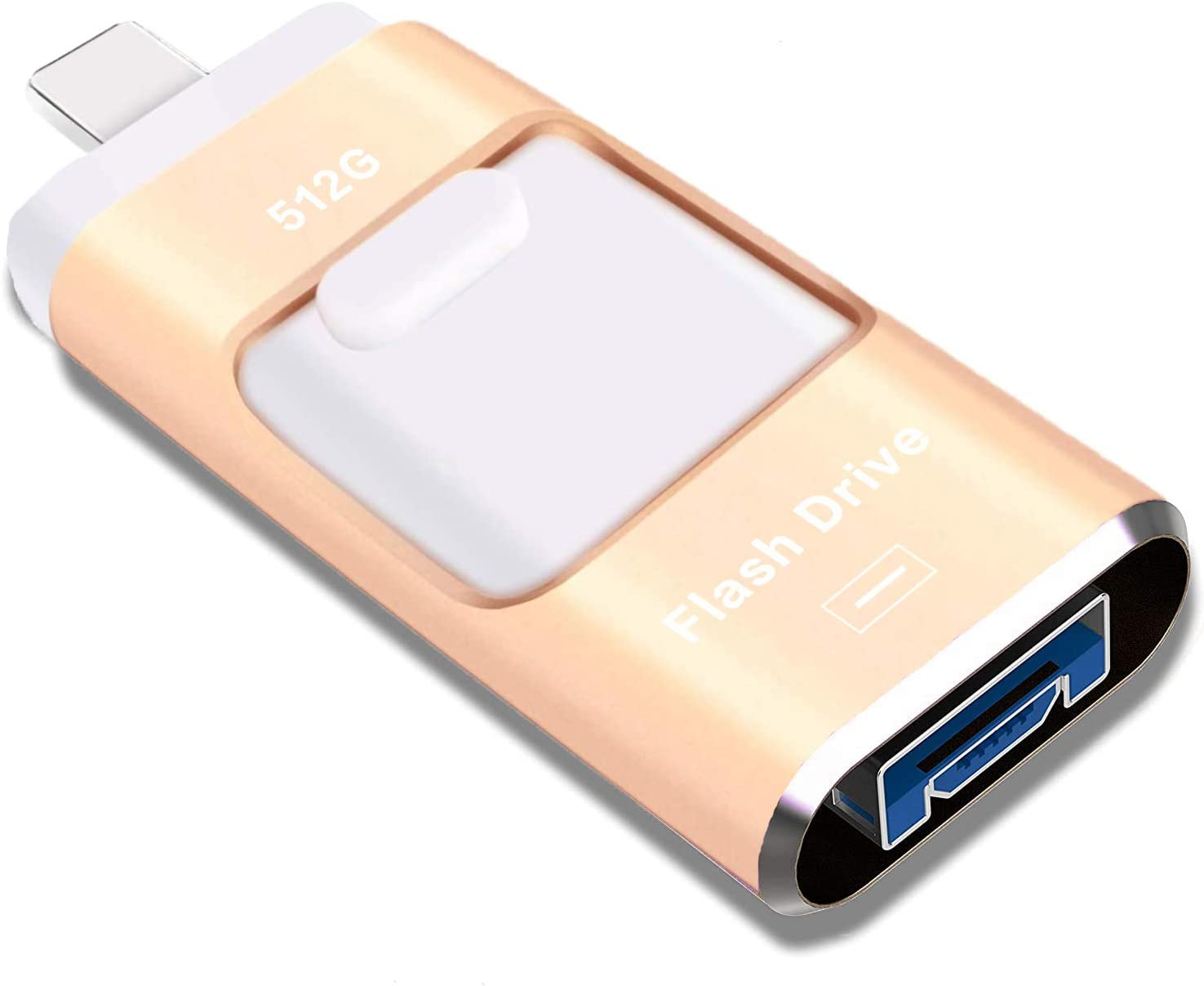 USB Flash Drive 512GB, STTARLUK Photo Stick USB 3.0 Pen Drive Compatible for iPhone/iPad External Storage Memory Stick Compatible with iPad/iPod/Mac/Android/PC (512G Gold)