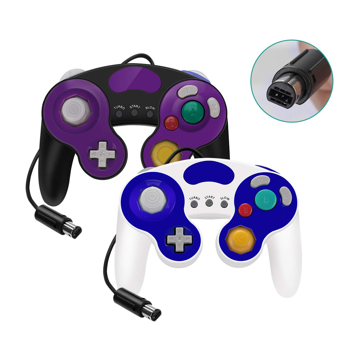YAEYE Gamecube Controller with Turbo and Vibrate,No Lag/Driver,2 Pack Classic Wired Switch Gamecube Controllers for Nintendo Switch/Wii U/Wii/PC(Black and White)