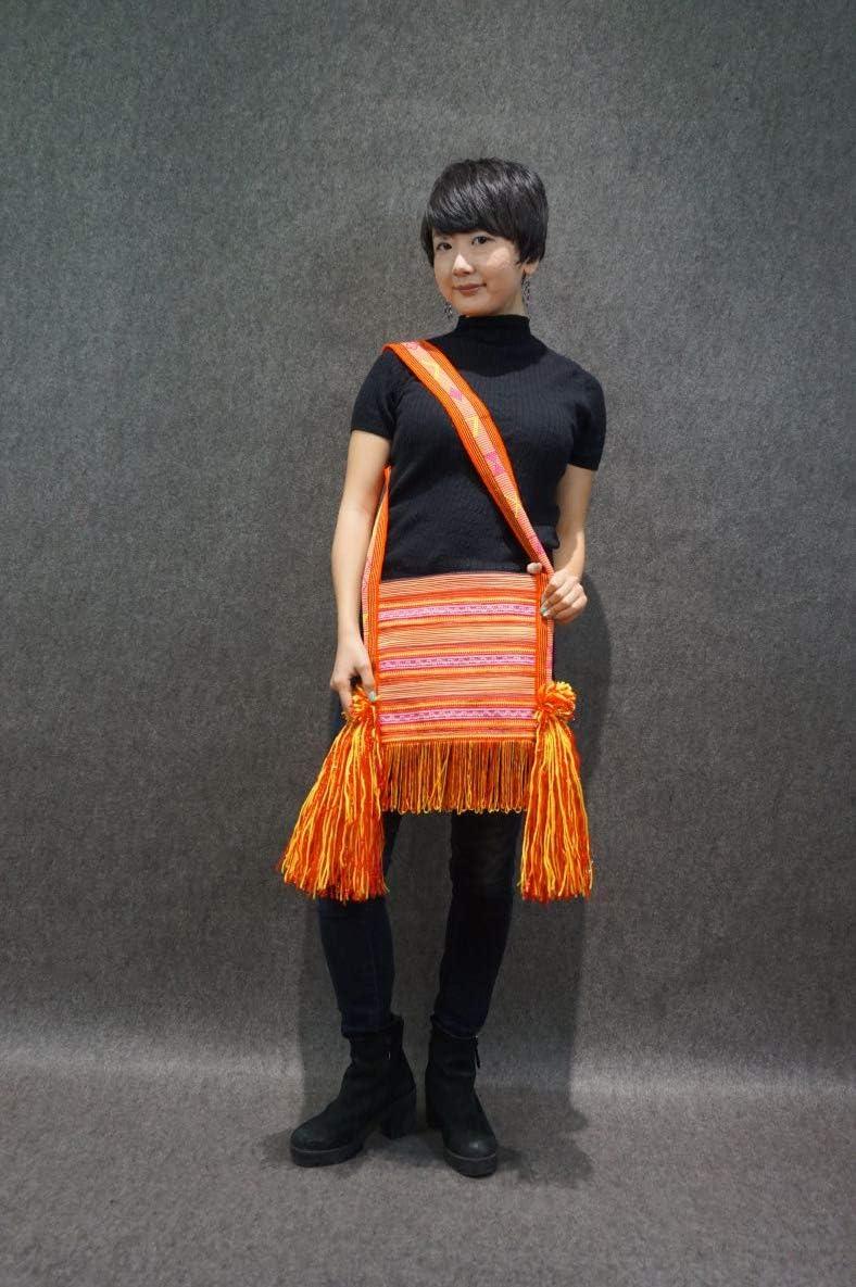 Interact China 100% Tessuto Con Telaio A Mano Borsa A Tracolla Borsetta Pochette Con Frange Street Wear #101 V5 (31*26cm, Manico 46cm)