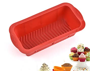 Hosaire Molde de Silicona de Pastel Molde de Fondant DIY Decoración de Repostería Pastel Cookie (Rectangular bandeja de silicona para hornear Rojo): ...
