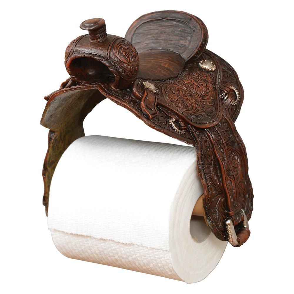 Saddle Toilet Paper Western Holder - Rustic Bathroom Decor