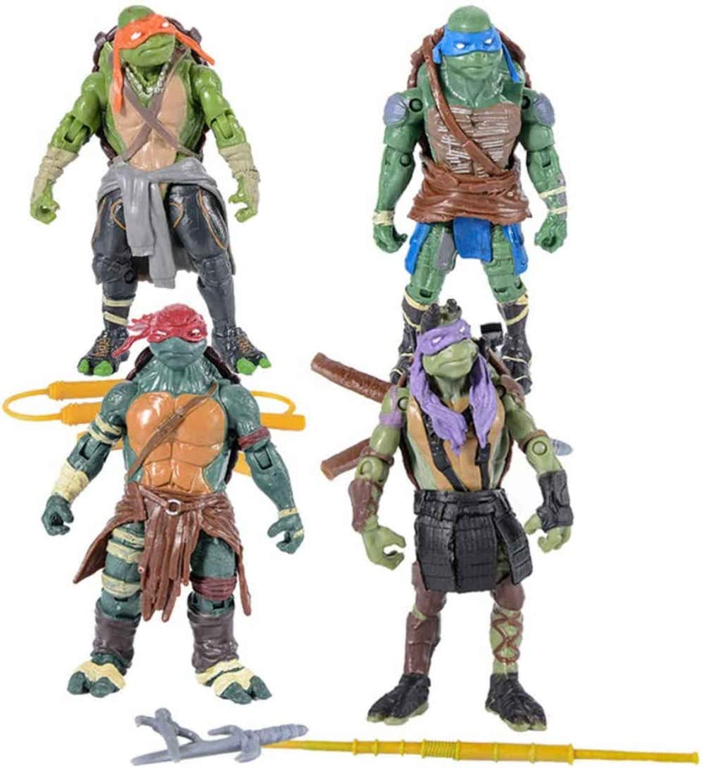 SNFHL Figuras Acción Tortugas Ninja Mutantes Juveniles, Juguetes Modelo de Personajes Dibujos Animados, Adecuado La Colección Cumpleaños Niños 4.8 Pulgadas,4.8inches-Normal
