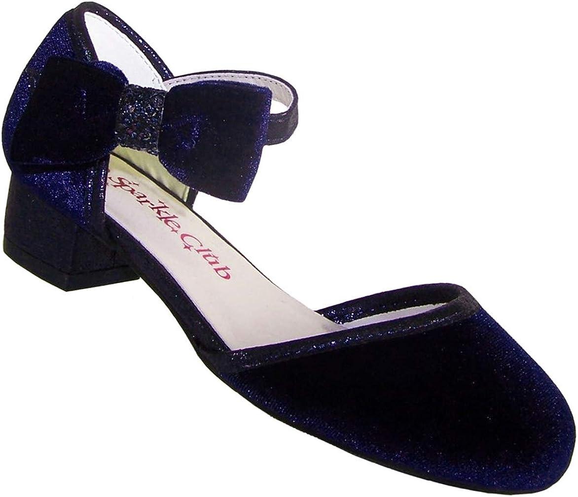 Chaussures de f/ête et de demoiselle dhonneur pour fille /à talon bas Bleu fonc/é