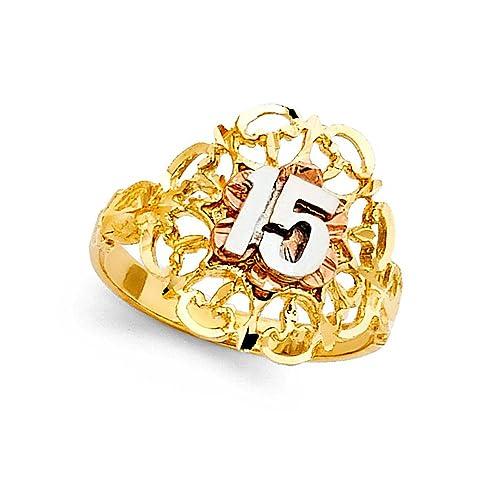 Amazon.com: Macizo de 14 K, 15 cumpleaños anillo de flores ...