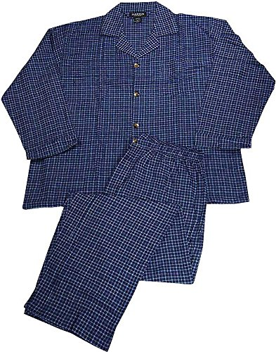STATE O MAINE Mens Big Plaid Flannel Long Sleeve Pajamas, Navy, Light Blue 37890-XXXXXX