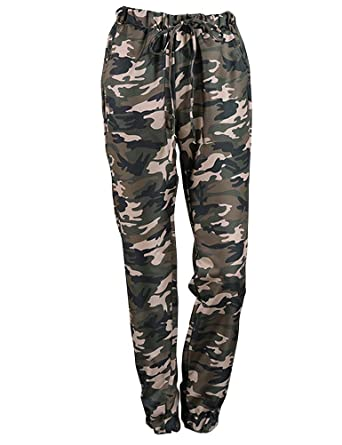 d82b5c3289ee5 Amazon.com: StarVnc Women Elastic Waist Drawstring Camouflage Print Side  Pocket Casual Trousers: Clothing