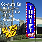 Cheap THRIFT STORE (Patriotic) Windless Feather Banner Flag Kit (Flag, Pole, & Ground Mt)