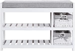Estink 70 x 28 x 45,5 cm Zapatero de 2 capas con cesta de almacenamiento zapatero con asiento acolchado