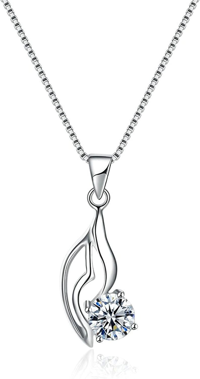 MoAndy Sterling Silver Women Necklace Chain Hollow White Length 40+4CM